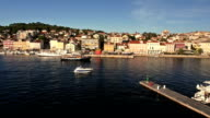 Aerial: boats coming back to port at sunset, Mali losinj video