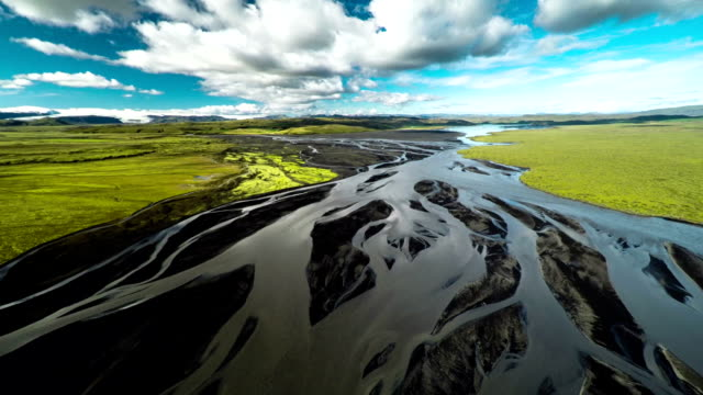Aerial Braided River Landscape in Iceland video