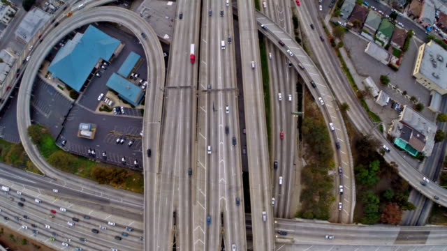 Aerial California Los Angeles Freeway video