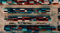 Aerial Cargo Container in port video