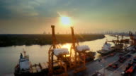 Aerial Cargo Container Port at sunset video