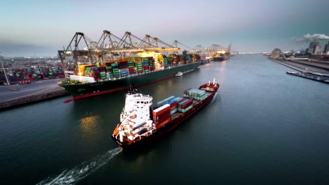 Aerial Cargo Container Ship video