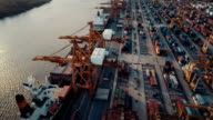 aerial ,cargo loaded onto freighter at Port thailand video