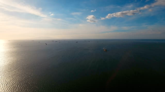 Aerial Cargo ships anchored in the sea. Philippines, Manila video