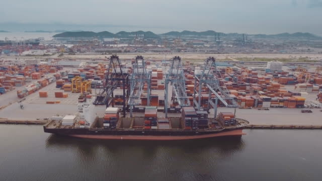 Aerial Cargo-containers port video