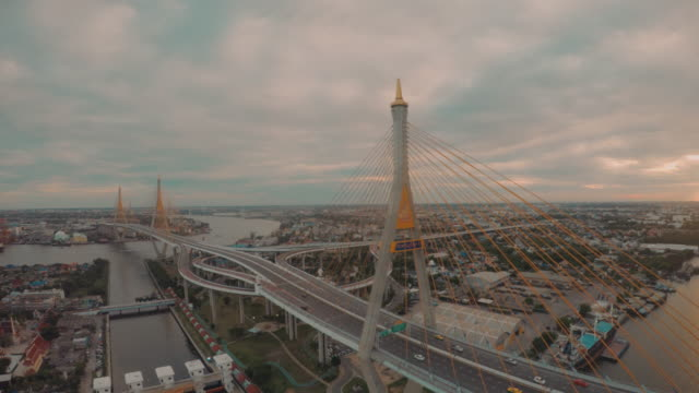 Aerial Chao Phraya river and Bhumipol Bridge video