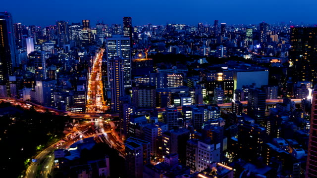 Aerial cityscape time-lapse of downtown Tokyo video