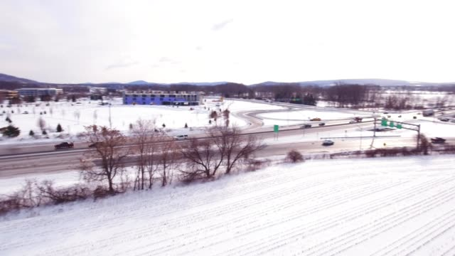 Aerial clear highway after snow video