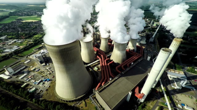 Aerial Coal Fired Power Station video