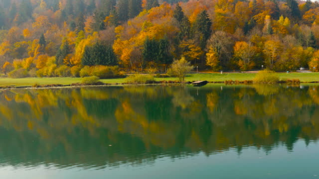 4K Aerial: Colorful Autumn Lake Landscape video