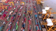 Aerial Containers in freight terminal video