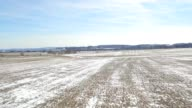 Aerial corn field covered in snow video
