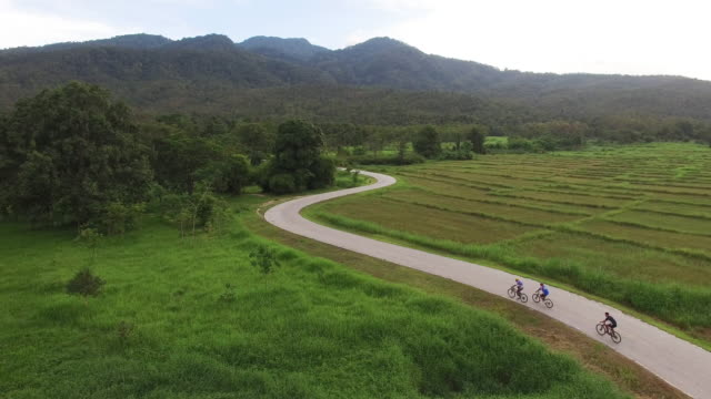 Aerial : cycling on country road video