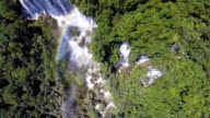 Aerial Dolly shot Video of Great Waterfall in Deep Forest video