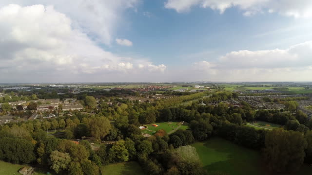 Aerial drone flying over dense urban area in Middelburg video