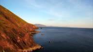Aerial drone footage of ocean, cliffs and sea stack video