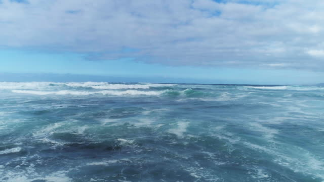 Aerial Drone Footage Of Waves Moving Towards Rocky Shore video