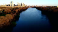 Aerial drone point of View above Austin Texas Skyline Sunset right above Town Lake video
