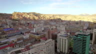 4K Aerial drone shot forward Bolivia La Paz downtown sunset video