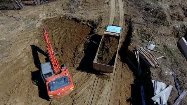 Aerial Drone Shot Of Construction Machinery Is Working video