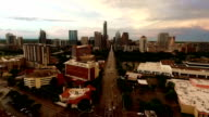 Aerial Drone Shot Over Austin Texas Capital Cities Moving Away from Downtown over Congress Avenue video