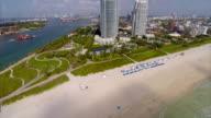 Aerial drone video Miami Beach coast video