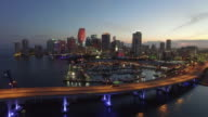 Aerial drone video of Downtown Miami at dusk video