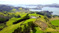 Aerial Dunedin Town and Otago Bay, New Zealand video