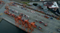 Aerial dusk vertical view Vancouver Container Port video