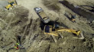 Aerial: Earth moving machines and construction site video