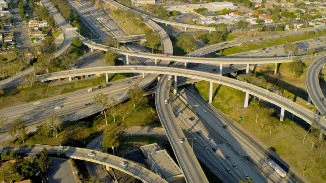 Aerial elevated road system suburbs, USA video
