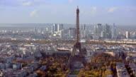 Paris, France - November 20, 2014: Aerial establishing shot of the Eiffel Tower.  daytime video