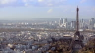 Paris, France - November 20, 2014: Aerial establishing shot of the Eiffel Tower. Panning left to right. Daytime video