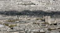 Paris, France - November 20, 2014: Aerial establishing shot of the Pompidou center and Notre Dame in Paris. video