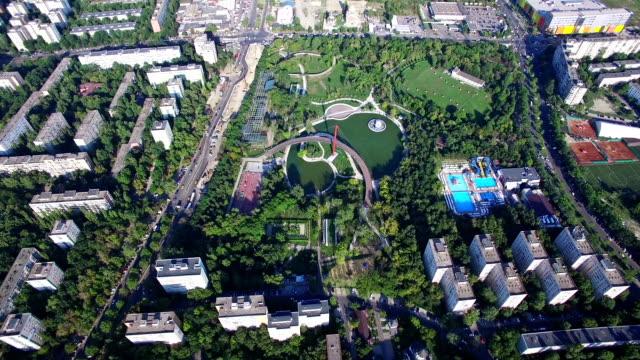 Aerial flight above Bucharest, Moghioros park, Romania video