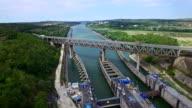 Aerial flight above Cernavoda sluice gate, Ecluza Cernavoda, Romania video