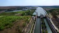 Aerial flight above Cernavoda sluice gate, Ecluza Cernavoda video