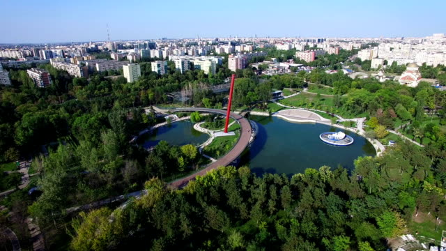 Aerial flight above Moghioros park, Bucharest city, Romania video