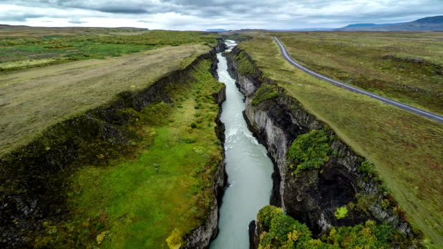 Aerial flight over Canyon in Iceland video