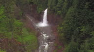 Aerial Flight Over Canyon River to Large Waterfall video