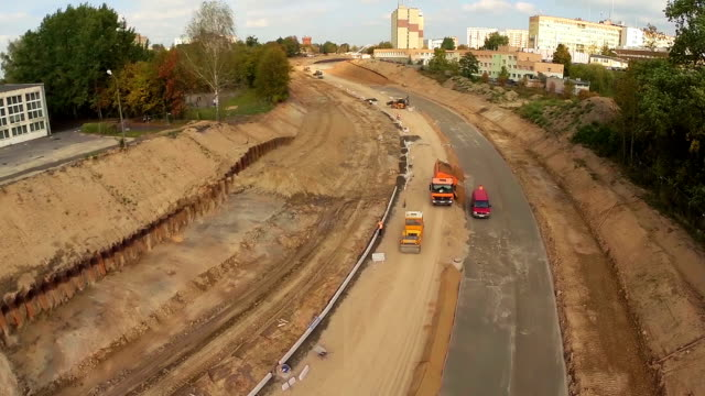 Aerial flight over construction site video