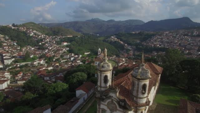 Aerial flight over Igreja São Francisco de Assis, Ouro Preto, Minas Gerais, Brazil video