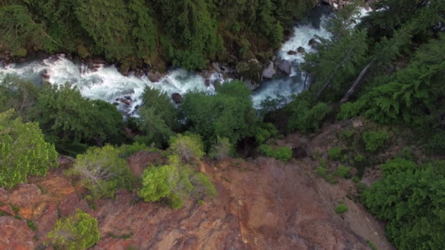 Aerial Flight Over Rocky Edge to Reveal Colorful Valley River video
