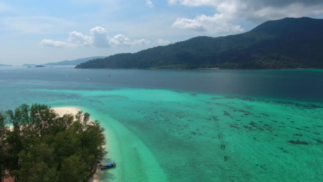 Aerial Flight Over White Sandy Beach and Beautiful Blue Ocean. video