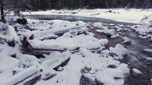 Aerial Floating Backwards Above River in Winter Season with Fresh Powder Snow on Rocks video
