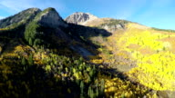 Aerial fly over canyon mountain peaks and fall colors video