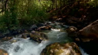 Aerial flying up crystal mountain stream video
