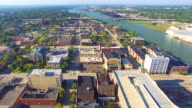 Aerial flyover of scenic urban downtown district video