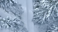 Aerial following the snowy forest road video