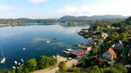 Aerial footage flying a drone over Fana, Bergen in Norway video